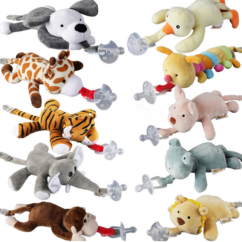 Foreign trade new baby doll clip hanging animal plush toys removable silicone pacifier