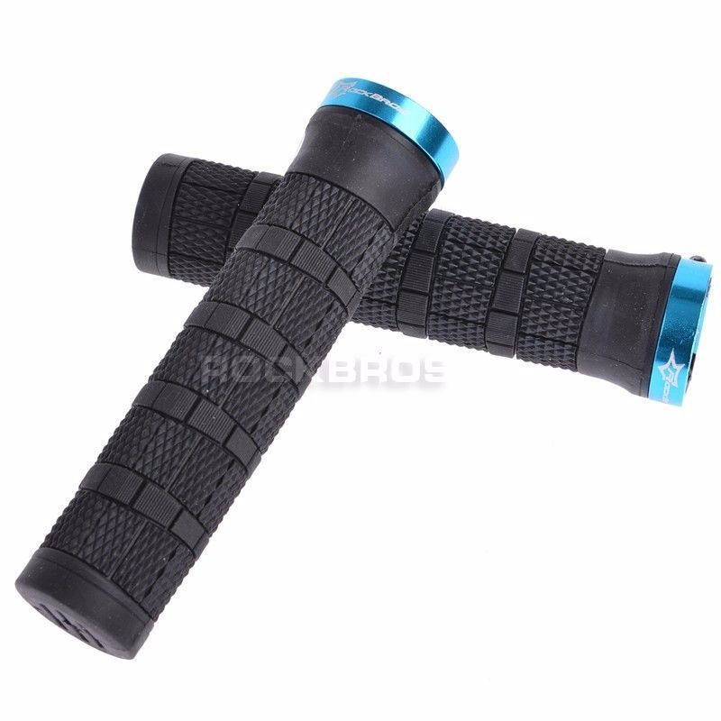 RROCKBROS Bike MTB Grips Handlebar Lock-on Grips Aluminum Alloy+Soft Durable PE Rubber Fixed Gear Grips Parts For Bicycles