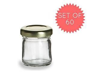 Nakpunar 60 pcs , 1.5 oz Mini Glass Jars for Jam, Honey, Wedding Favors, Shower Favors, Baby Foods, DIY Magnetic Spice Jars