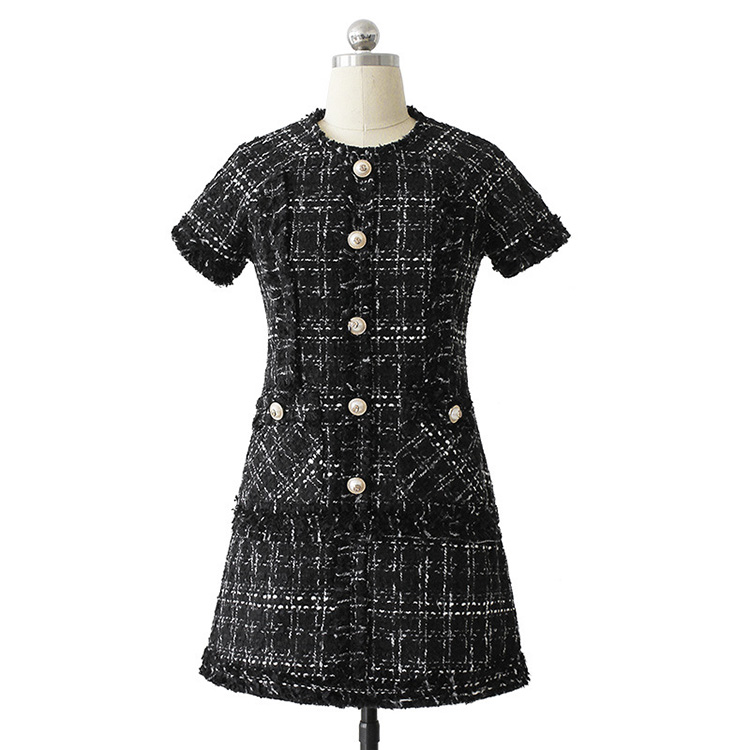 Short Sleeved Tweed Day Dress Black Plaid Wool Winter Dress Vetement Femme High end A line Vintage Clothing Dress Drop Shipping