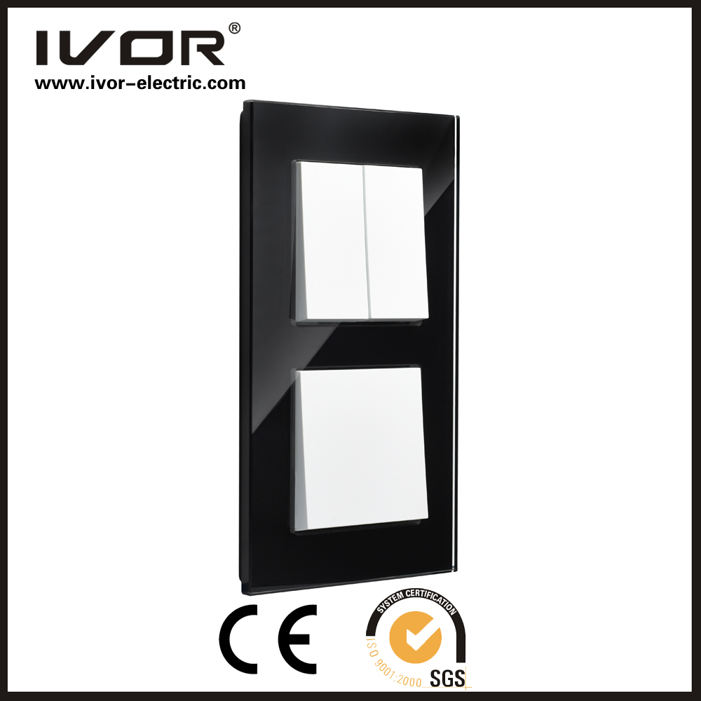 new design IVOR glass panel push botton light luxcry switch manufactory light switch/plastic switch/mechanical push button