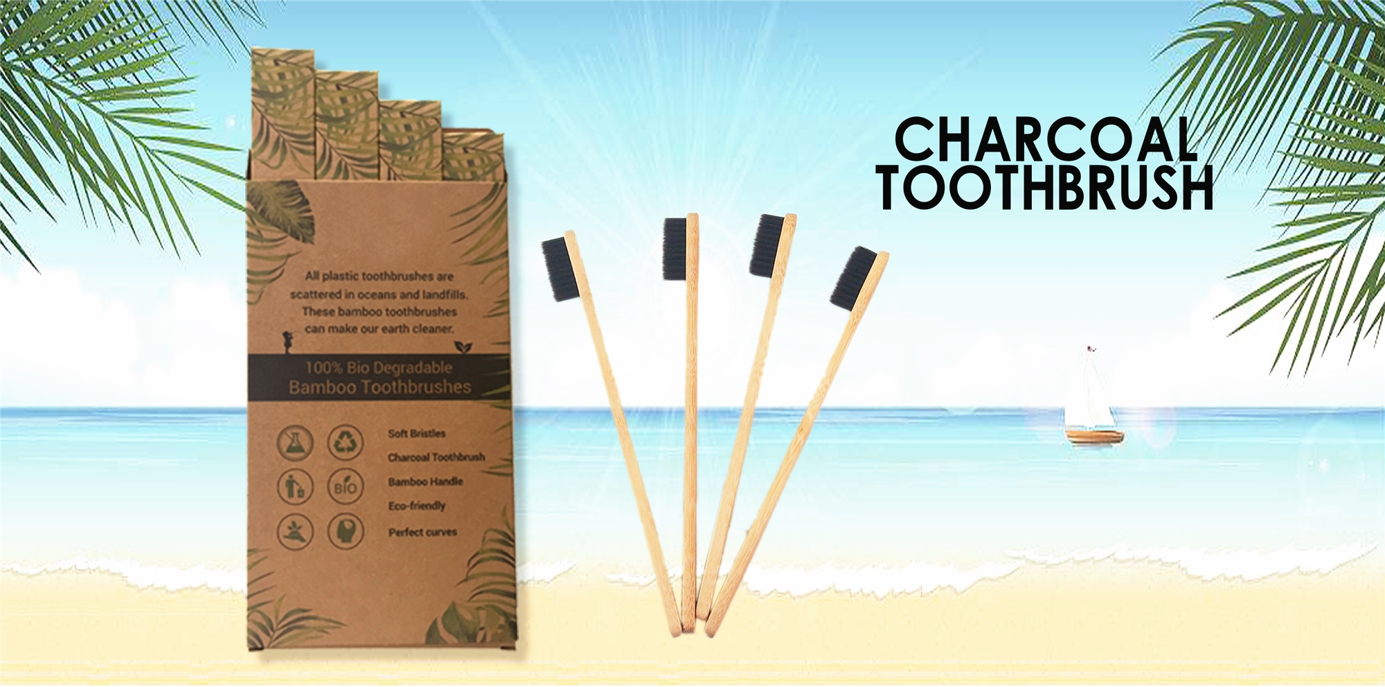 100% Biodegradable eco bamboo toothbrush with charcoal bristle toothbrush,private label black bamboo toothbrush