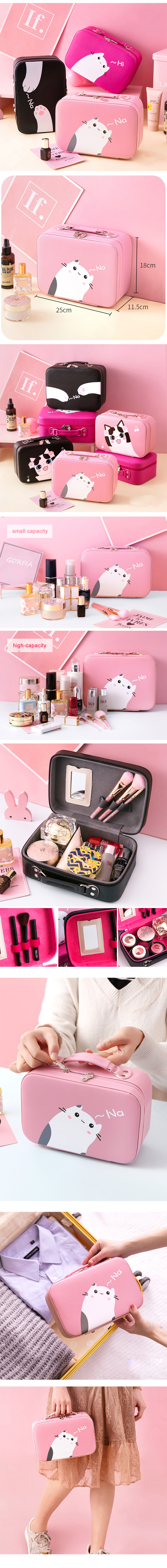 Cute cat kids cosmetic case OEM high quality Guangzhou wholesale professional girls beauty box vanity case