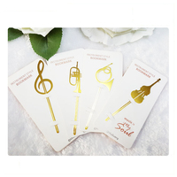 popular custom oem brass cut out gold plated music funny blank metal bookmark