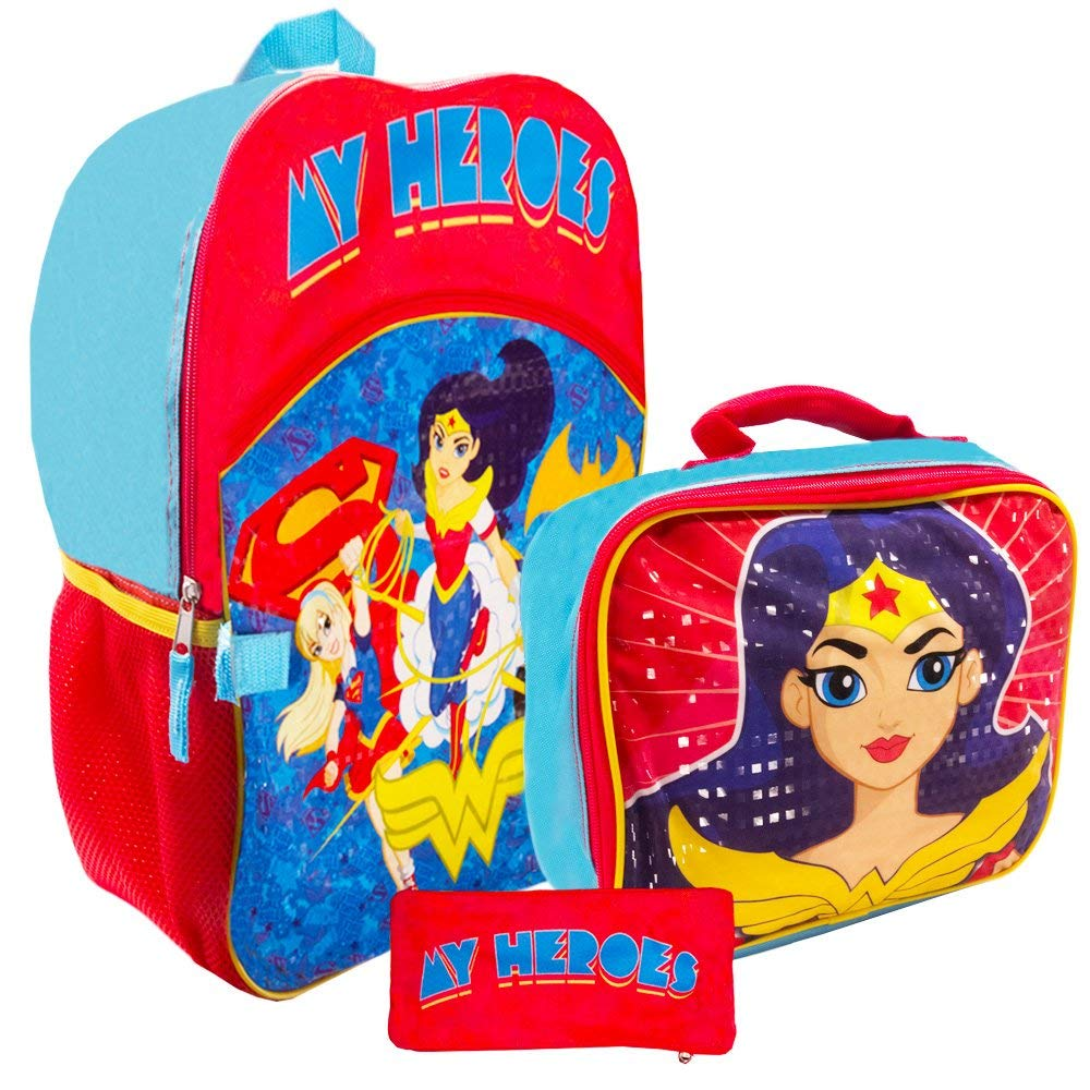 454eeaebc6e7 Get Quotations · Super Hero Girls Backpack and Lunch Box Set -- Deluxe 16