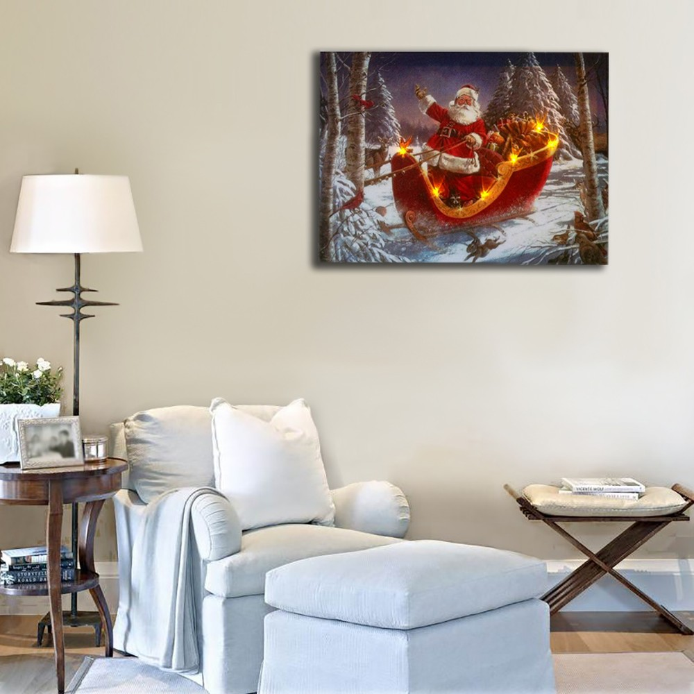 Lighted Wall Pictures Santa Claus S Sleigh Snow In Winter