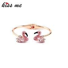 Tale Swan Bangle Friendship Pink Crystal Animal Rose Gold Plated Bangle