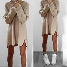 B31436A 2016 Women Fashion customized morden chunky knit sweater dress