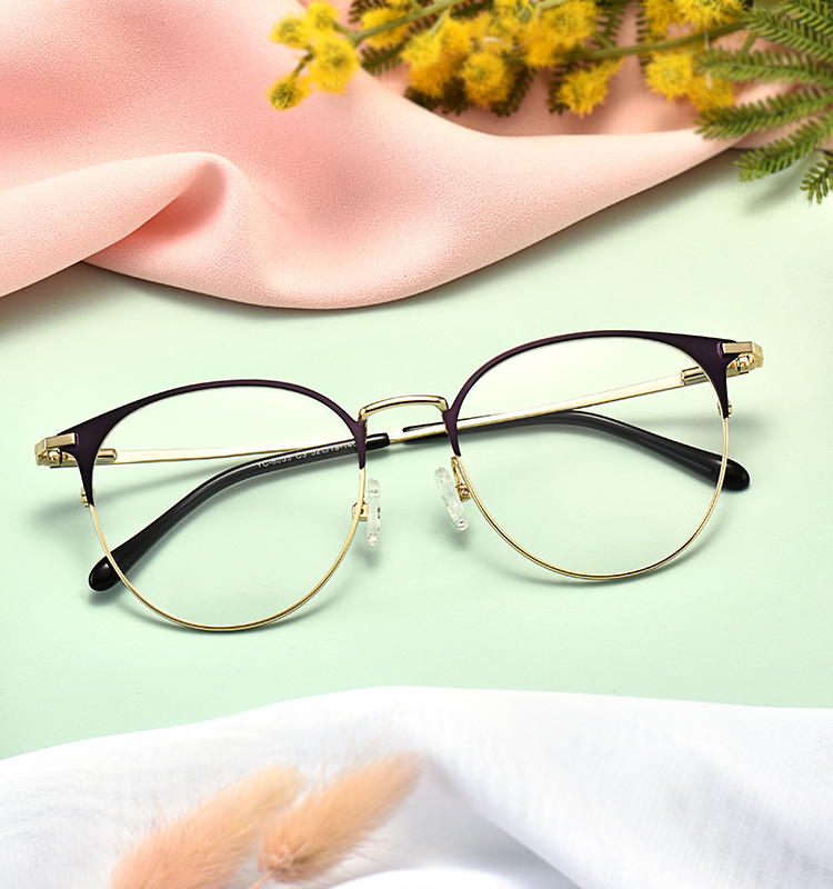 Fashionable girl style round metal temple eye glasses in stock factory price
