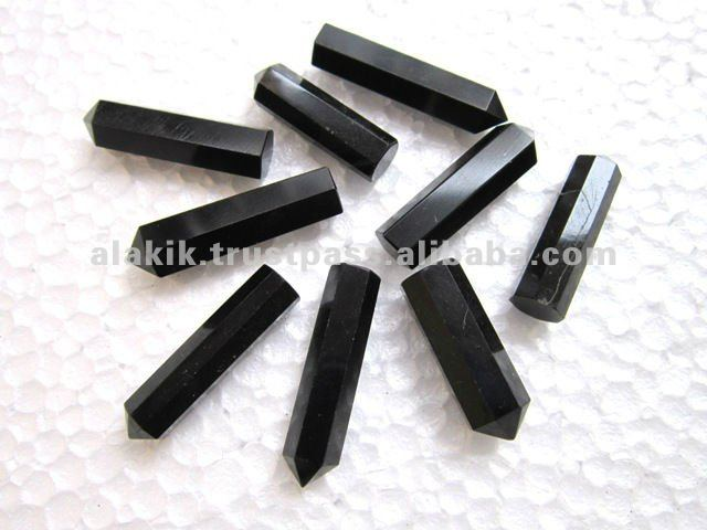 Single Terminated Black tourmaline : Gemstone Healing Pencil Points