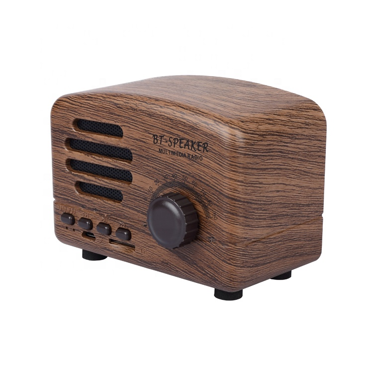 Portable wood effect 5W 1200mah stereo bass retro vintage bt speaker with fm radio