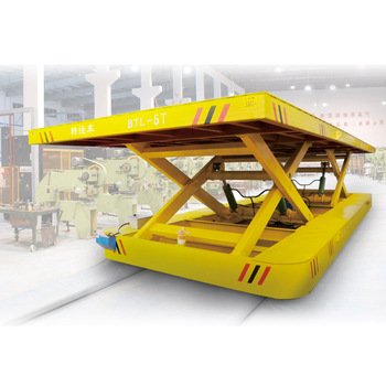 Steel Box Beam Structure Hydraulic Lifting Table Battery Rail Car Cross Bay  Transport