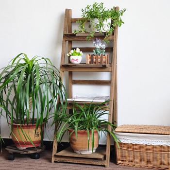 Outdoor Plant Stand Flower Garden Pot Display Wooden Shelf Planter Decor Table