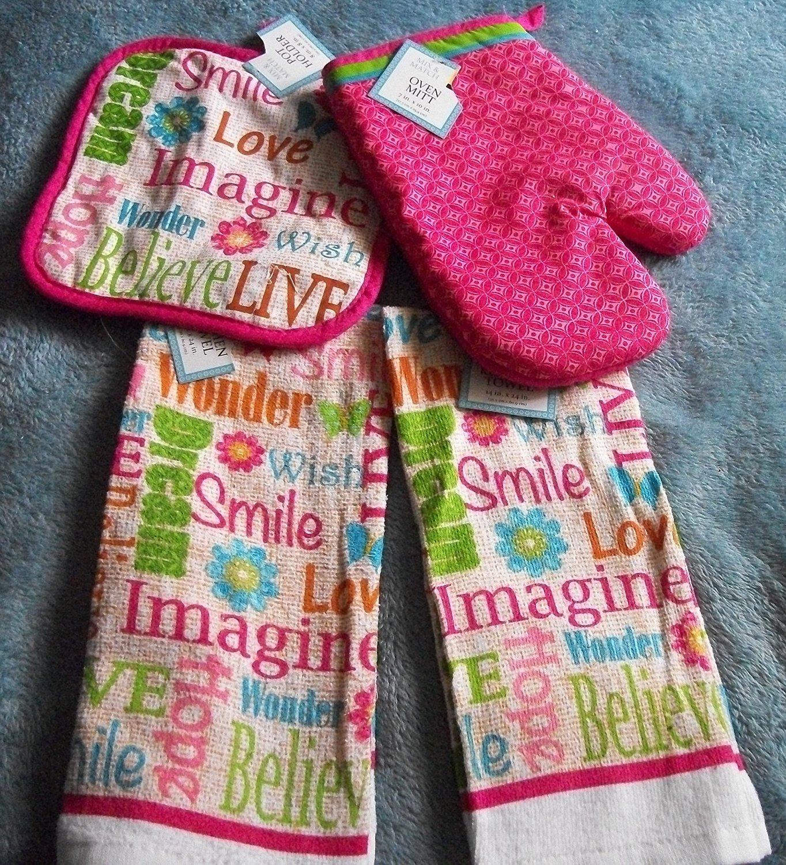 Smile,Love ,Believe, Hope, Dream Dish Towel Set