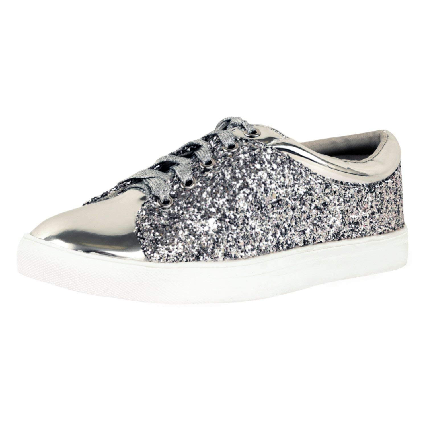c3ab7d7ae1ea Get Quotations · Guilty Shoes - Womens Fashion Glitter Metallic Lace up  Sparkle Slip On - Wedge Platform Sneaker