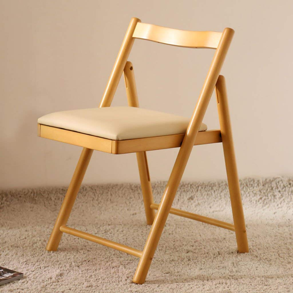 Simple fashion folding dining table chair/solid wood dining chair modern comfortable chair/home desk chair folding chairs indoor (Color : A)