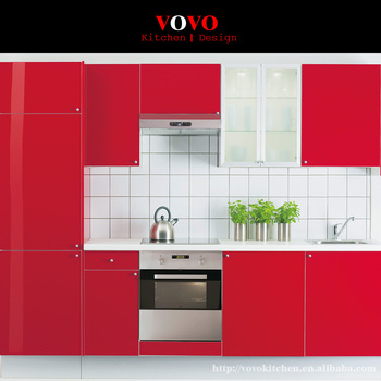 High Quality Red Lacquer Mdf Kitchen Cabinet Design