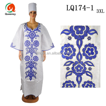 Lq174 Queency Wholesale Floral Embroidery Design African Bazin Dress ...
