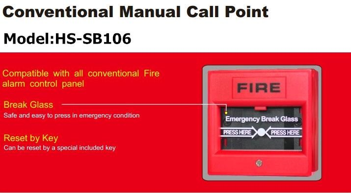 Hot Sale 2 Wire 24v Break Glass Manual Fire Alarm Call