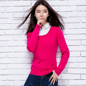 High quality crewneck 100% wool knitted sweater manufacturer