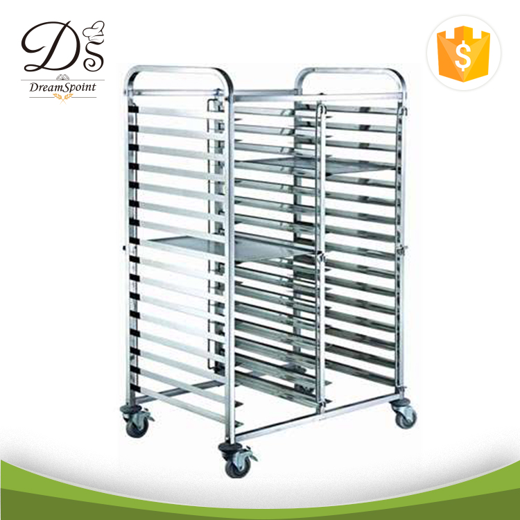 High Level Stainless Steel Bakery Pan Trolley For Hotel Kitchen 32 Pan Trolley