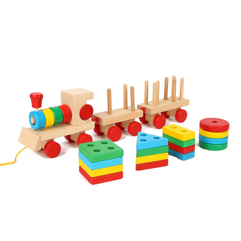 New high fashion educational wooden sorting stacking shape toy wooden train push set toys for kids