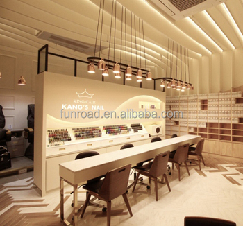 Modern Nail Store Cash Counter With Brand Image Wall Decoration