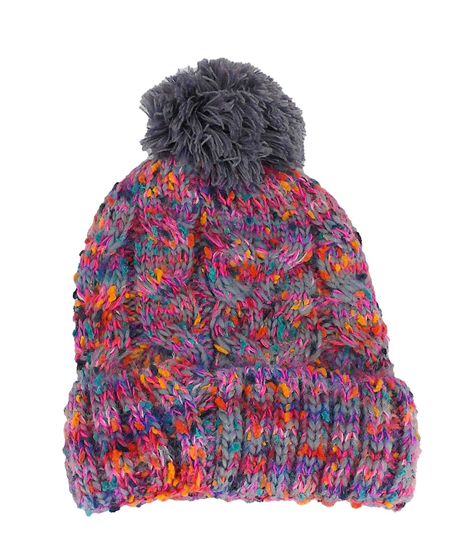 7d064842bf9 Get Quotations · TINKUY PERU 100% Alpaca Skull Hat Polar Inner Multicolor  Gray Pom Pom Beanie