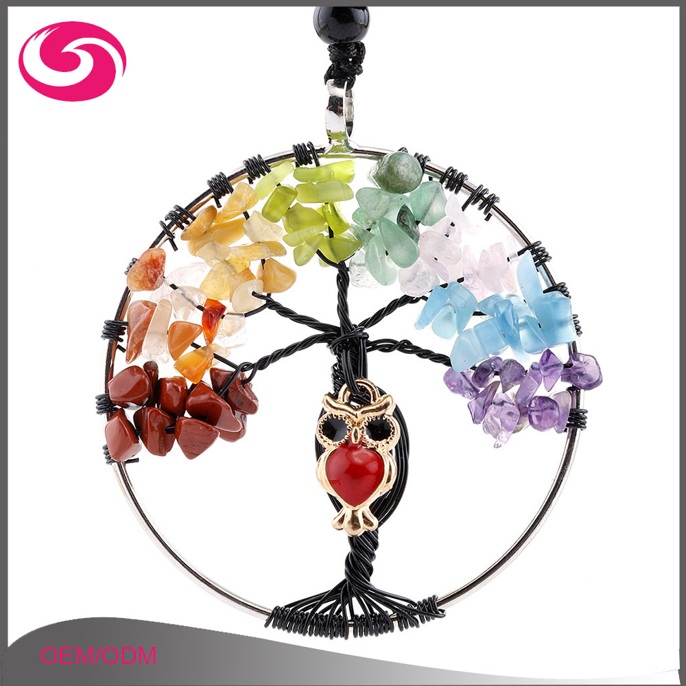 Small Stones Wire wrapped Tree with Owl Charm Life Tree Gravel Pendant Necklace