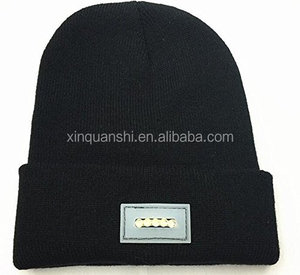 High quality cheap plain LED light knitted long beanie