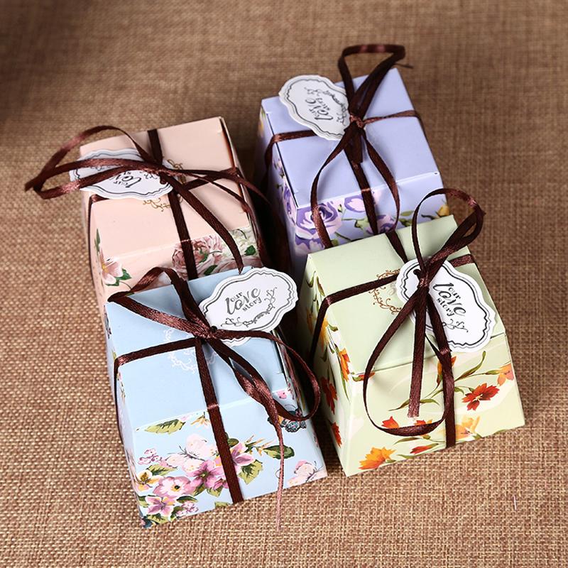 50pcs/lot Beautiful Romantic Flower Wedding Candy Box With