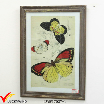 Butterfly Flower Theme Antique Wood Framed Handcraft 24x36 Picture
