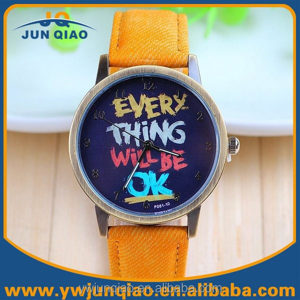 Colors fabric strap quartz every thing will be ok small black dial watches фото