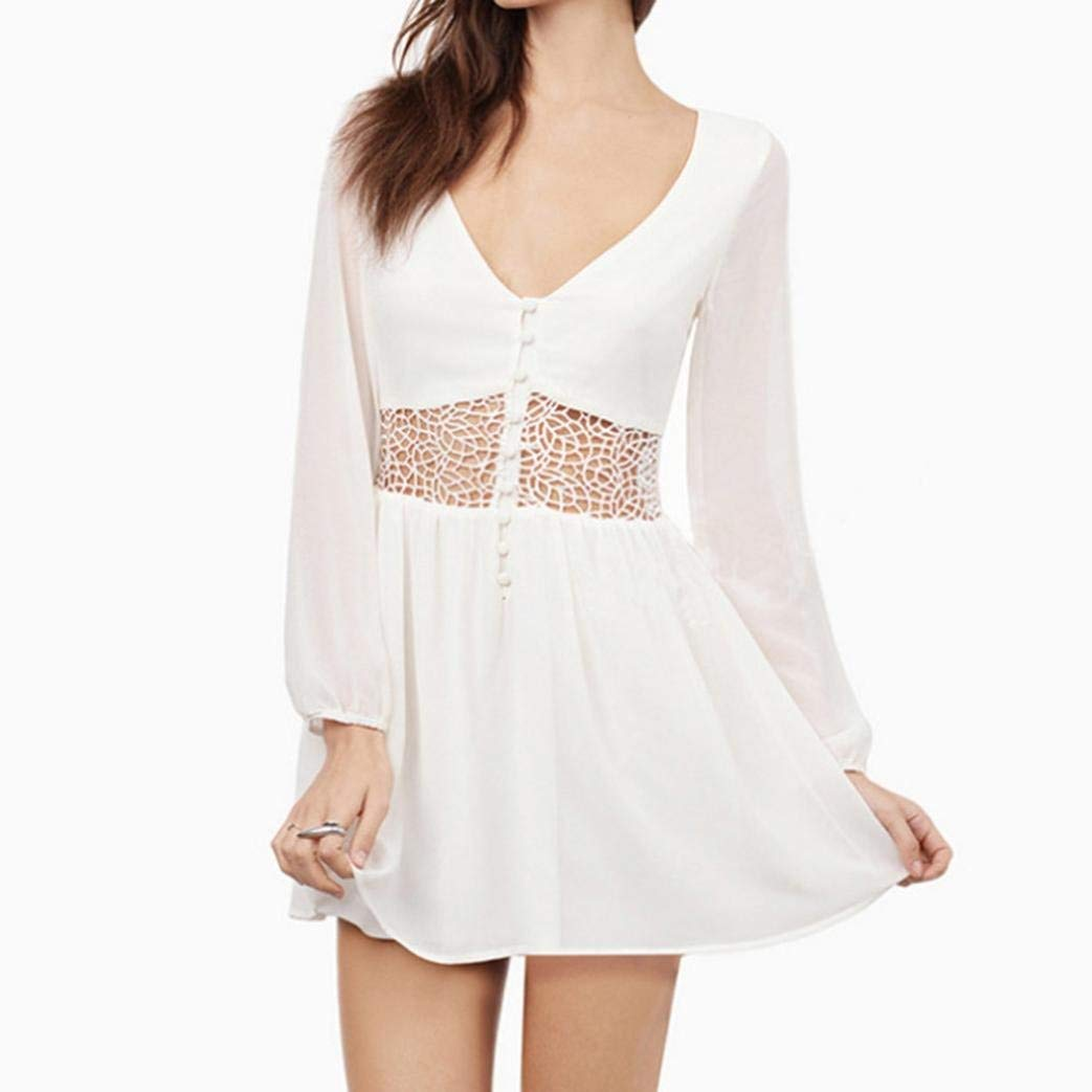93b67be7259e Get Quotations · Women's Bohemian Hollow Out Waist Lace Splicing White  Short Mini Dress Long Sleeve Lace Chiffon Cocktail