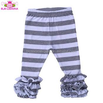 085593af8c0d6 Wholesale boutique clothing icing ruffle legging newborn children Triple  Ruffle Leggings Grey & White Stripes Cotton