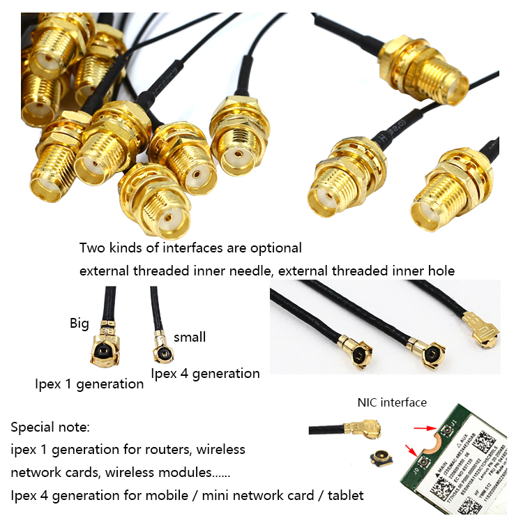 Rf Cable Assembly Rp Sma Female Connector Bulkhead To Ufl With 1.13 Cable 4.5Cm Coaxial Cable Rf Connectors