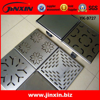 Square Decorative Shower Drain/Stainless Steel Shower Floor Grate Drain