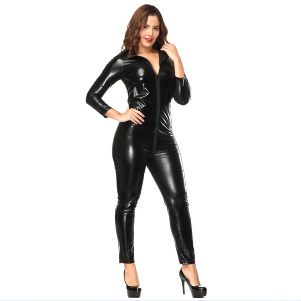 3007abe68e4 Get Quotations · Women Faux Leather Open Crotch Wet Look Zipper Bodysuit  Jumpsuit Uniform