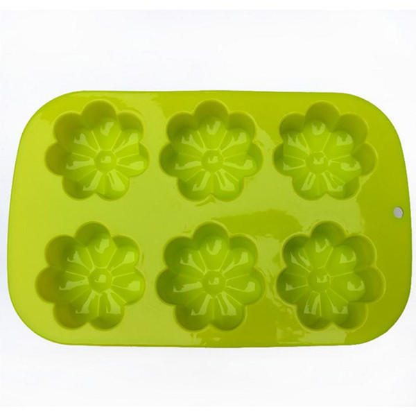 Food grade silicone baking tools 6 cups sunflower cake mold cupcake mold