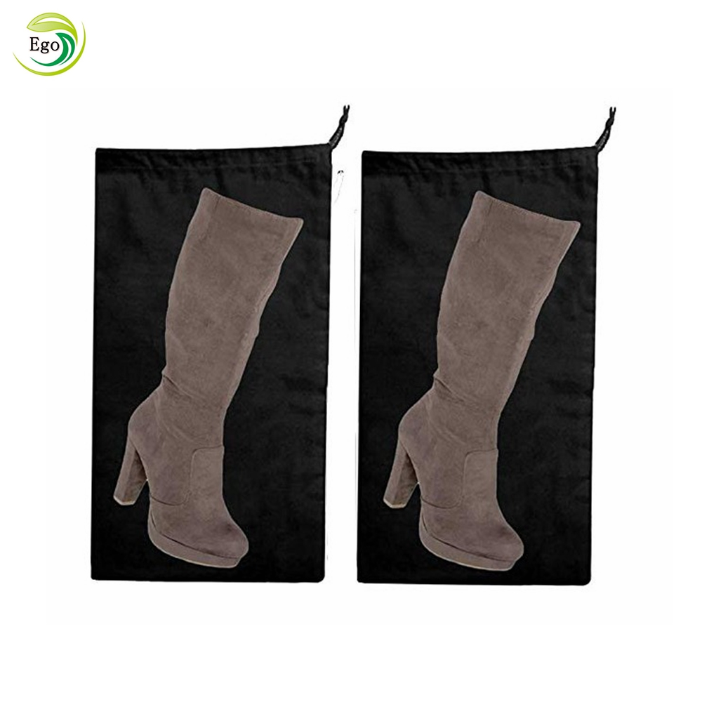 Black cotton drawstring shoe boot dust bag with custom printed logo