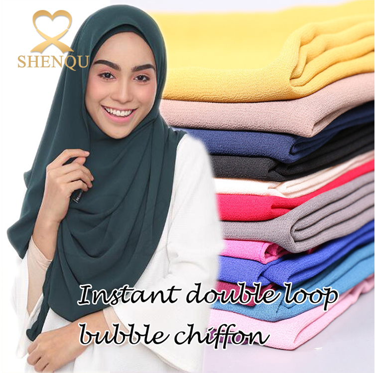 10pcs MOQ high quality bubble chiffon scarf popular wrap solid color plain double loop muslim hijab stitched instant scarfs