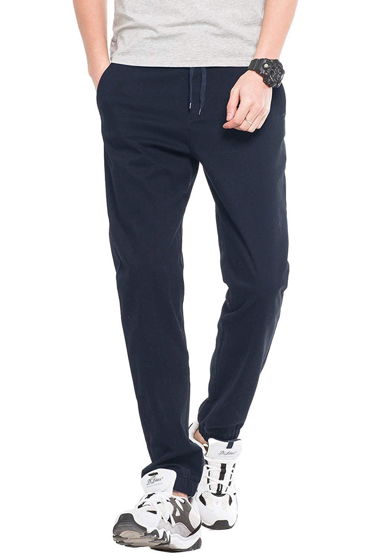 Men's Casual Classic Jogger Pants, Regular Fit Elastic Chino Drawstring Pants Sweatpant