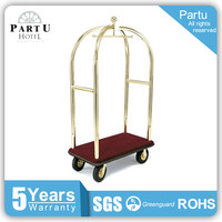 Partu Hotel Factroy Directly Brushed Stainless Steel cart for luggage carrying