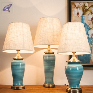 Color Glazed Chinese Exquisite Vase Porcelain Reading Lamps Ceramic Desk Table Lamps