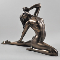 Life size cast bronze sexy yoga little girl nude figurine statue sculpture
