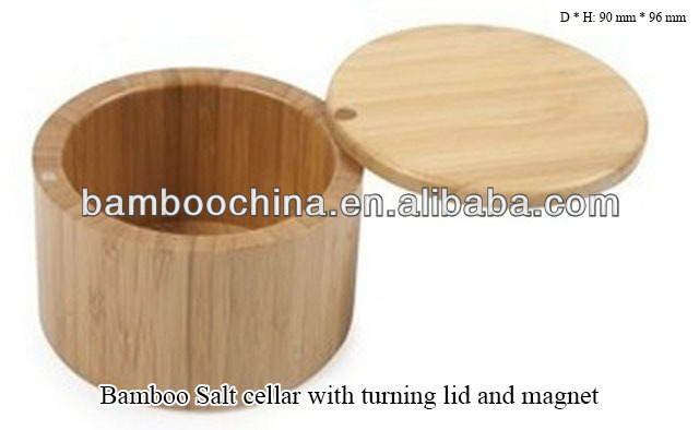 bamboo salt cellar canister container