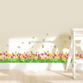 Colorcasazypa 053 N Tulip Bunga Kupu Kupu Stiker Dinding 3d Diy