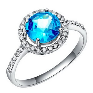 Exotic hot sell 18k white gold plated blue sapphire engagement ring
