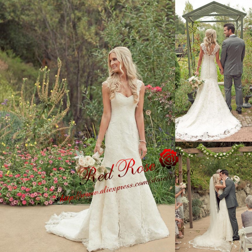 Simple Country Wedding Ideas: 2015-Simple-Country-Lace-Mermaid-Wedding-Dress-with-Cap