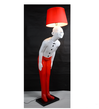 Polyresin Old Man Decorative Red Floor Lamp Standing Lamps